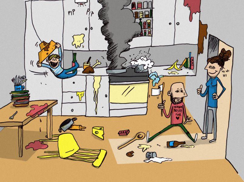 Vaderschapsverlof in hilarische en herkenbare cartoons